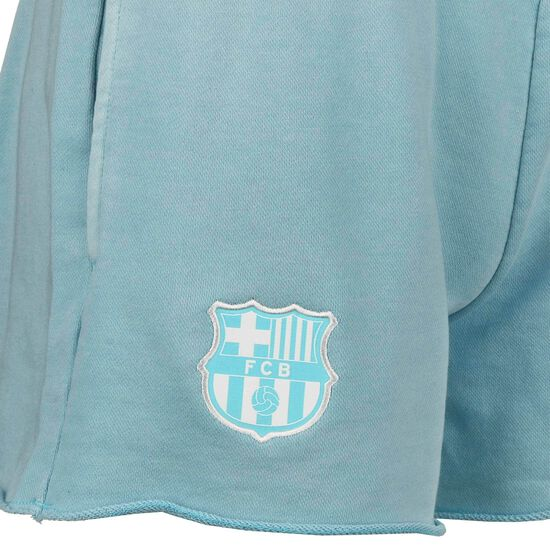 FC Barcelona French Terry Shorts Damen, türkis / weiß, zoom bei OUTFITTER Online