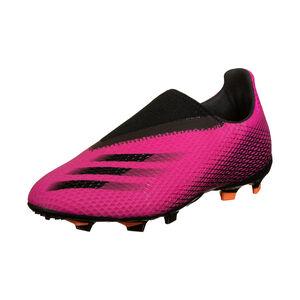 X Ghosted.3 Laceless FG Fußballschuh Kinder, pink / schwarz, zoom bei OUTFITTER Online