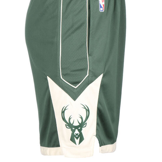 NBA Milwaukee Bucks Icon Edition Swingman Short Herren, dunkelgrün / beige, zoom bei OUTFITTER Online