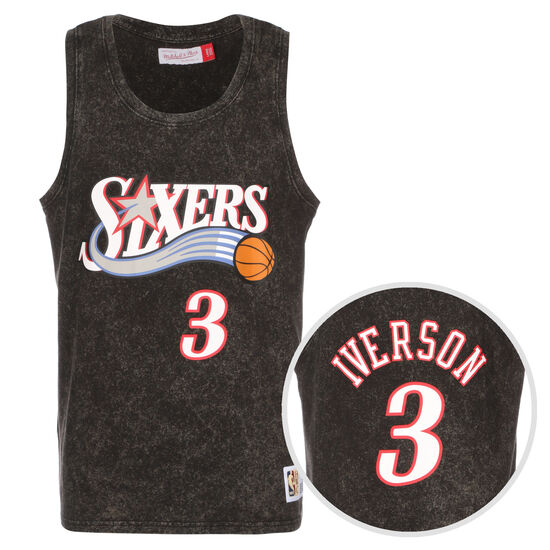NBA Philadelphia 76ers Allen Iverson Acid Wash Trikot Herren, schwarz / rot, zoom bei OUTFITTER Online