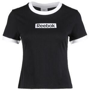 Training Essentials Linear Logo Trainingsshirt Damen, schwarz / weiß, zoom bei OUTFITTER Online