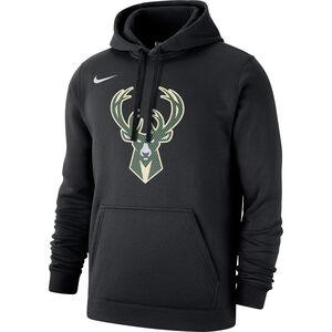 Milwaukee Bucks Logo Fleece Kapuzenpullover Herren, schwarz / dunkelgrün, zoom bei OUTFITTER Online