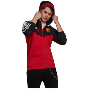 Manchester United 3-Streifen Kapuzenjacke Herren, rot / schwarz, zoom bei OUTFITTER Online