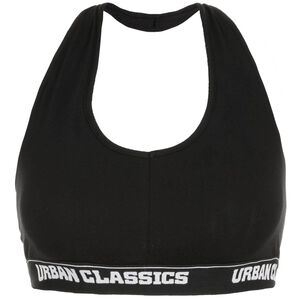 Ladies Asymmetric Logo Sport-BH Damen, schwarz / weiß, zoom bei OUTFITTER Online