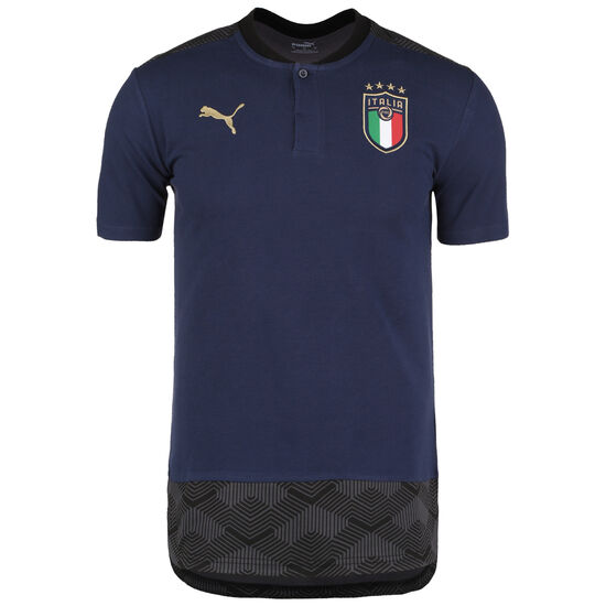 FIGC Italien Casuals Poloshirt EM 2021 Herren, dunkelblau / gold, zoom bei OUTFITTER Online