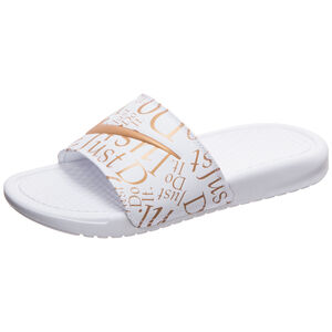 Benassi Just Do It Print Badesandale Damen, weiß / gold, zoom bei OUTFITTER Online