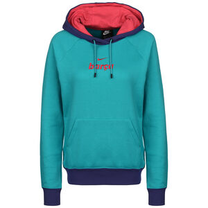 FC Barcelona Essential Fleece Kapuzenpullover Damen, türkis / orange, zoom bei OUTFITTER Online