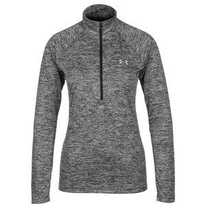 HeatGear Tech Twist 1/2 Zip Trainingsshirt Damen, anthrazit, zoom bei OUTFITTER Online