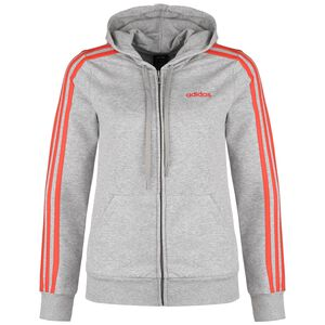 Essentials 3-Stripes Kapuzensweatjacke, grau / neonrot, zoom bei OUTFITTER Online