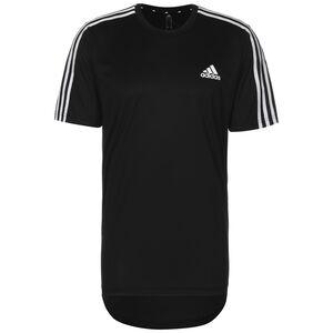 AEROREADY Designed To Move Sport 3-Streifen Laufshirt Herren, schwarz / weiß, zoom bei OUTFITTER Online