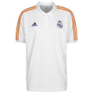Real Madrid 3-Streifen Poloshirt Herren, weiß / dunkelgelb, zoom bei OUTFITTER Online