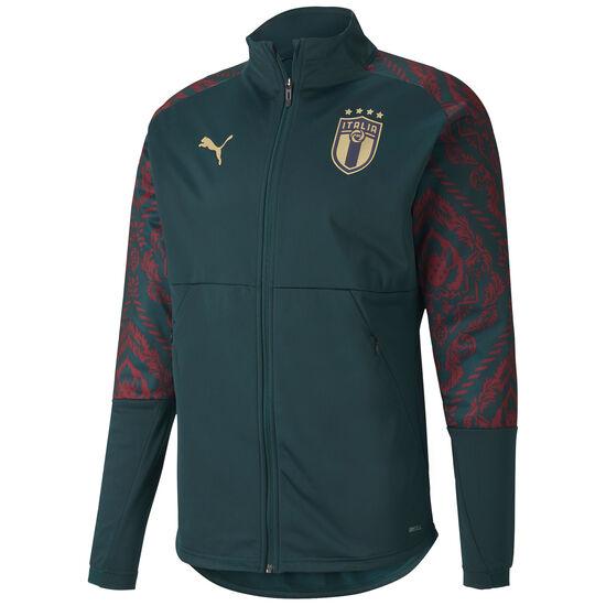 FIGC Italien Stadium 3rd Trainingsjacke EM 2020 Herren, dunkelgrün / rot, zoom bei OUTFITTER Online