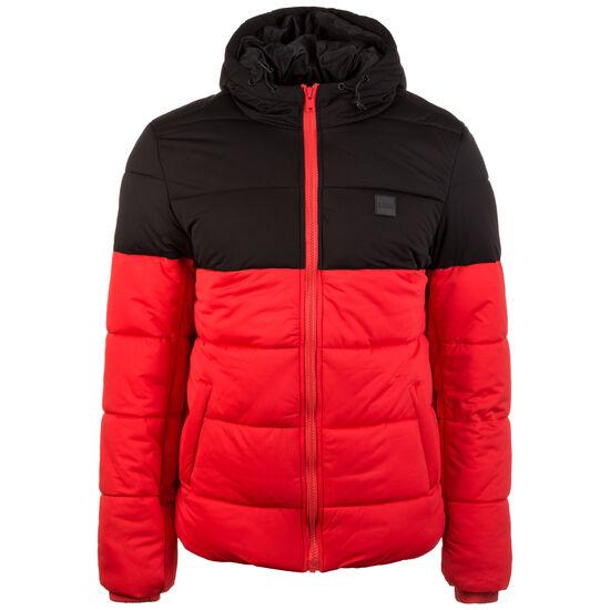 Hooded 2-Tone Puffer Winterjacke Herren, rot / schwarz, zoom bei OUTFITTER Online