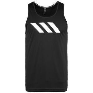 Sport 3-Stripes Basketballtank Herren, schwarz / weiß, zoom bei OUTFITTER Online