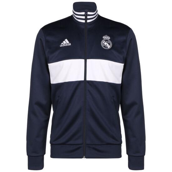 Real Madrid 3-Streifen Trainingsjacke Herren, dunkelblau / weiß, zoom bei OUTFITTER Online