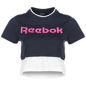 Essentials Linear Logo T-Shirt Damen, dunkelblau / weiß, zoom bei OUTFITTER Online