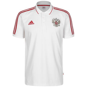 Russland 3-Streifen Poloshirt EM 2021 Herren, weiß / rot, zoom bei OUTFITTER Online