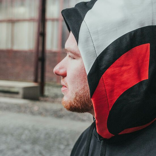 FOKUS CLAN Heavy Taped Kapuzenpullover Herren, schwarz / rot, zoom bei OUTFITTER Online