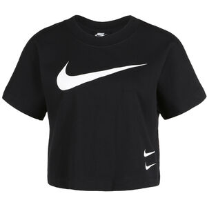 Swoosh Cropped T-Shirt Damen, schwarz / weiß, zoom bei OUTFITTER Online