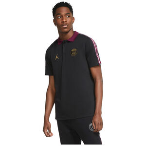 Paris St.-Germain Taped Poloshirt Herren, schwarz / bordeaux, zoom bei OUTFITTER Online