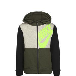 Sportswear Kapuzensweatjacke Kinder, khaki / neongrün, zoom bei OUTFITTER Online