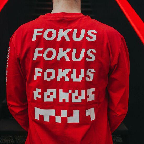 FOKUS CLAN Heavy Pixel Longsleeve Herren, rot / weiß, zoom bei OUTFITTER Online