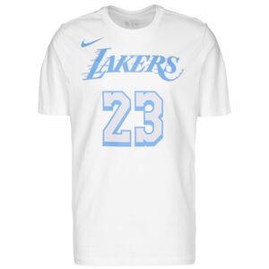 NBA Los Angeles Lakers LeBron James City Edition Essential T-Shirt Herren, weiß / hellblau, zoom bei OUTFITTER Online