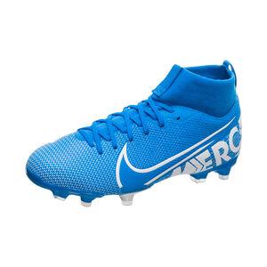 Mercurial Superfly VII Academy MG Fußballschuh Kinder, blau / weiß, zoom bei OUTFITTER Online