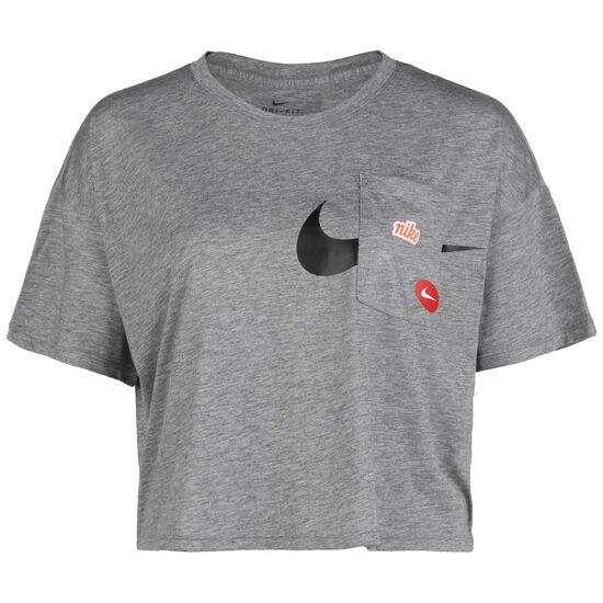 Icon Clash Short Trainingsshirt Damen, grau / schwarz, zoom bei OUTFITTER Online