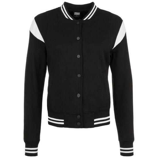 Inset College Sweat Jacke Damen, schwarz / weiß, zoom bei OUTFITTER Online