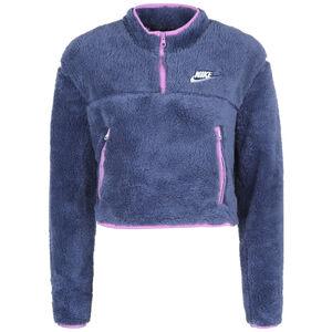 Sherpa-Fleece Crop Sweatjacke Damen, dunkelblau / flieder, zoom bei OUTFITTER Online