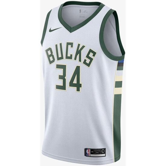 NBA Milwaukee Bucks #34 Antetokounmpo Basketballtrikot Herren, weiß / grün, zoom bei OUTFITTER Online