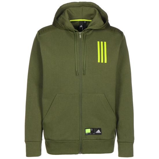 Overlay Full-Zip Trainingsjacke, oliv / gelb, zoom bei OUTFITTER Online