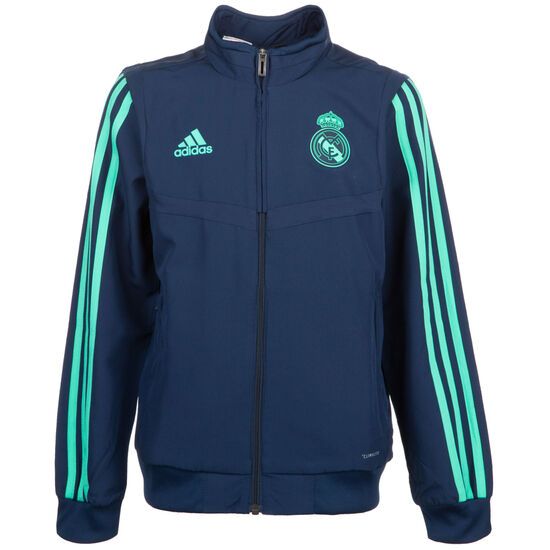 Real Madrid Präsentationsjacke Kinder, dunkelblau / mint, zoom bei OUTFITTER Online