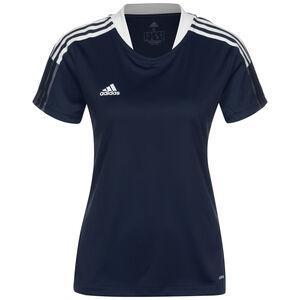 Tiro 21 Trainingsshirt Damen, dunkelblau / weiß, zoom bei OUTFITTER Online