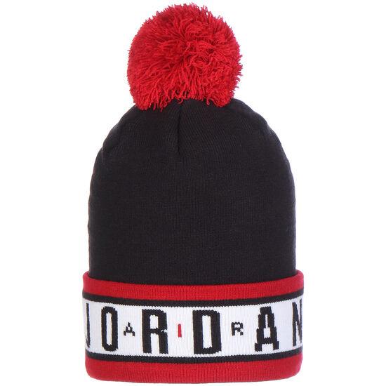 Jordan Cuffed Pom Beanie, schwarz / rot, zoom bei OUTFITTER Online